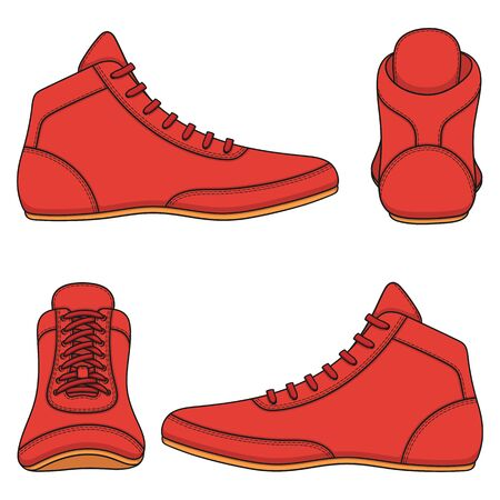 Set of color illustrations with red wrestling shoes, sports shoes. Isolated vector objects on a white background.
