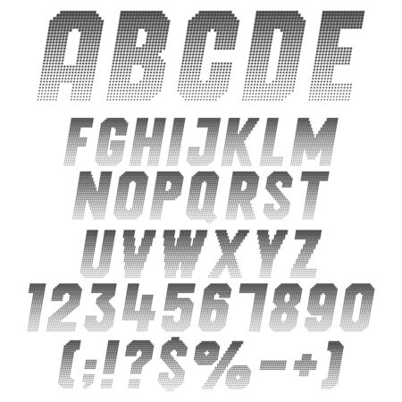 Alphabet, letters, numbers and symbols from pixels. Set of isolated vector black and white objects on a white background. Illustration