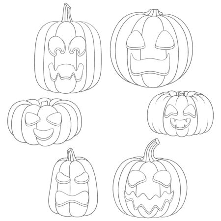 Set of black and white pumpkins with faces for Halloween. Isolated vector objects on a white background. Çizim