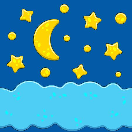 Bright images with the night sky, moon, stars, clouds. Isolated color vector objects.