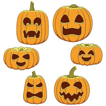Satz farbige Illustrationen von Kürbissen mit Gesichtern für Halloween. Isolierte Vektorobjekte auf weißem Hintergrund.
