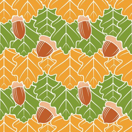 Seamless pattern with oak yellow and green leaves and acorns. Vector color background.