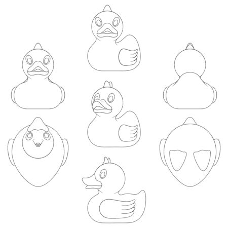 Set of black and white images with a toy duck in different angles. Isolated vector objects on a white background.