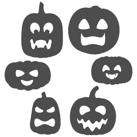 Set of black and white pumpkins with faces for Halloween. Isolated vector objects on a white background. Иллюстрация