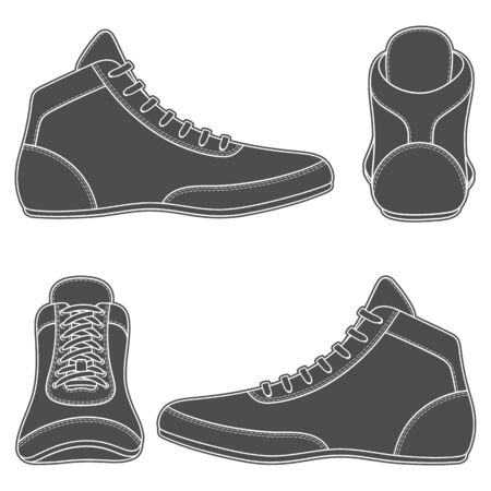 Set of black and white illustrations with wrestling shoes, sports shoes. Isolated vector objects on a white background. Archivio Fotografico - 133155291
