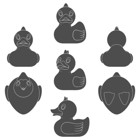 Set of black and white images with a toy duck. Isolated vector objects on a white background.