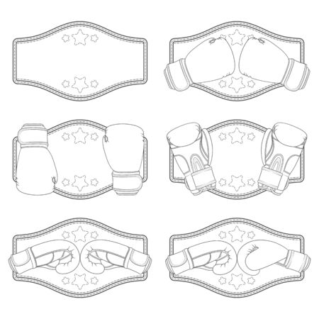 Set of black and white illustrations with boxing gloves and a winner's belt. Isolated vector objects on a white background. Illustration