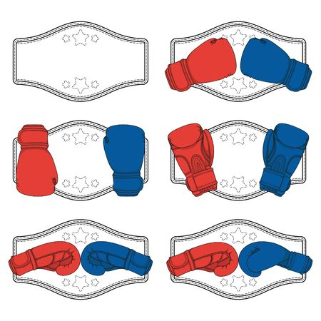 Set of color illustrations with red and blue boxing gloves and a winner's belt. Isolated vector objects on a white background.