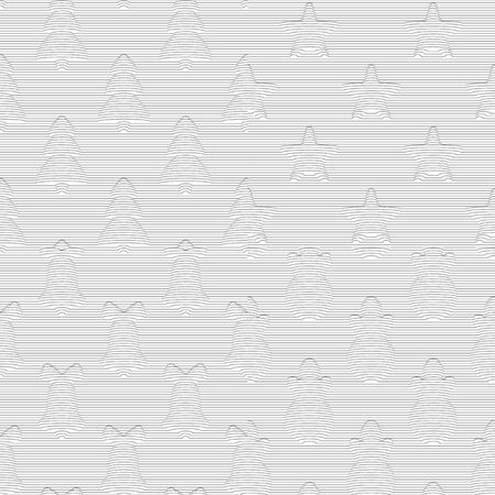 Set of seamless three-dimensional striped Christmas patterns. Vector black and white backgrounds.