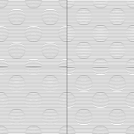 Set of seamless patterns with circles and stripes. Black and white vector backgrounds with three-dimensional effect.