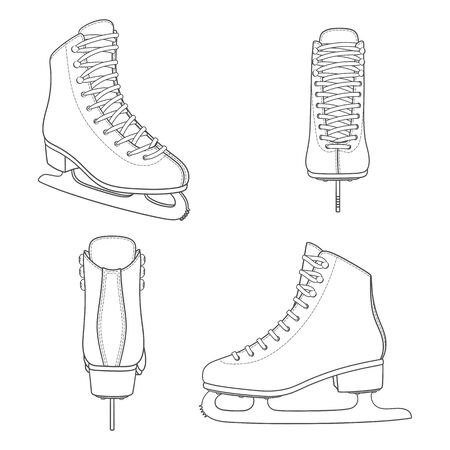 Set of black and white images with skates for figure skating. Isolated vector objects on a white background.