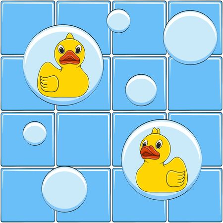 Colored vector background with yellow ducks and bubbles. Seamless pattern.