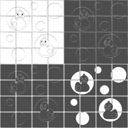 Set of black and white vector backgrounds with rubber ducks and bubbles. Seamless patterns.