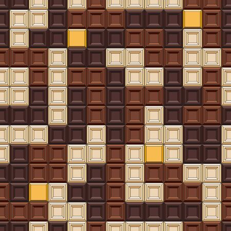 Seamless pattern with tetris made of chocolate cubes, sweets.