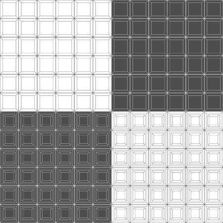 Set of black and white seamless patterns with square geometric shapes, tiles. Vector backgrounds. Illustration