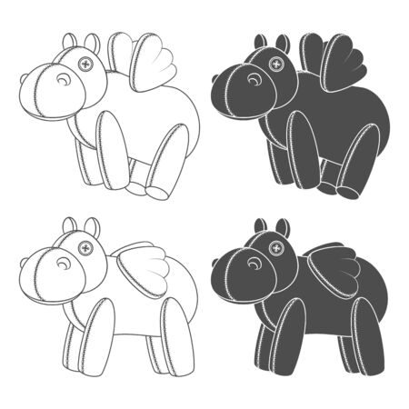 Set of black and white illustrations with a toy hippo with wings. Isolated vector objects on a white background. Illustration