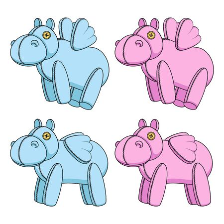 Set of color illustrations with pink and blue toy hippos with wings. Isolated vector objects on a white background.
