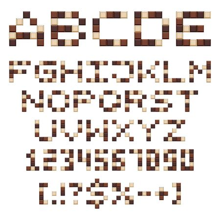 Chocolate alphabet, letters, numbers and signs. Set of isolated vector objects on a white background.