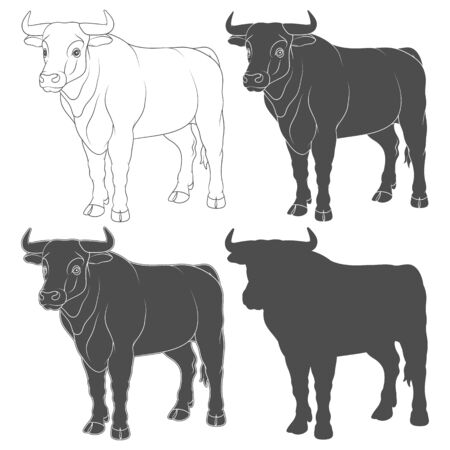 Set of black and white illustrations with a bull, a cow. Isolated vector objects on a white background.
