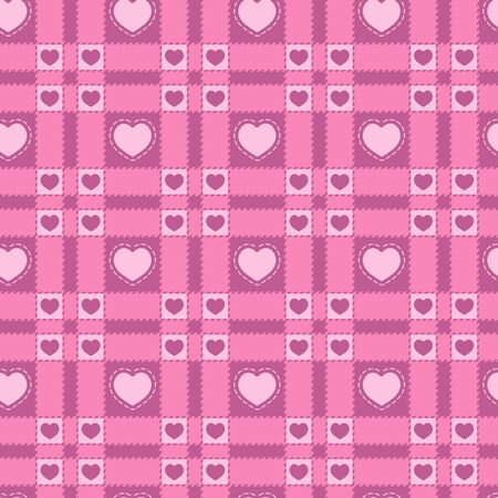 Seamless pattern with a plaid and pink hearts. Vector background.