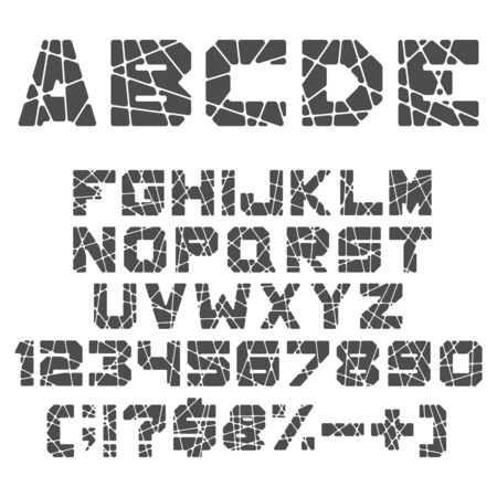 Black and white alphabet, numbers and signs with cuts, cracks. Isolated vector objects on white background. Illustration