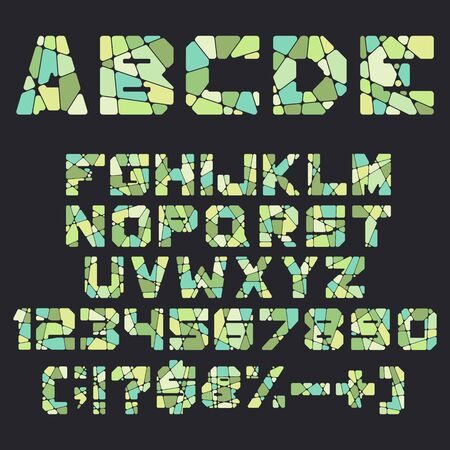 Alphabet, letters, numbers and signs from mosaic, pieces. Isolated colored vector objects.