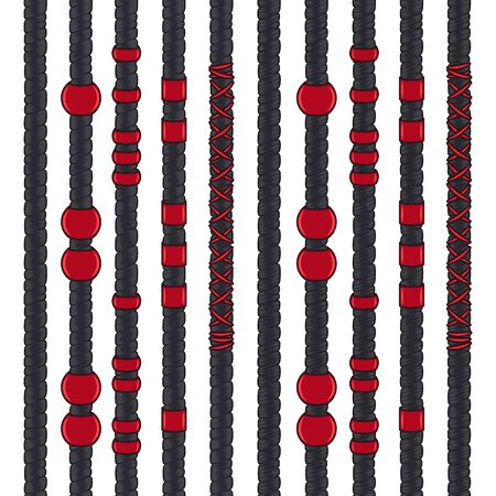 Set of colored seamless patterns with black dreadlocks and red jewelry. Isolated vector objects on white background.