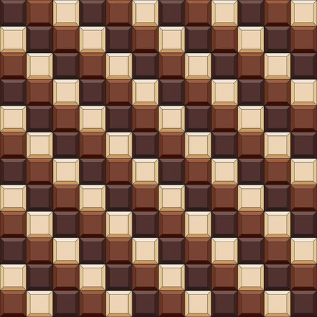 Seamless pattern with chocolate cubes, tiles. Vector color background. Illustration