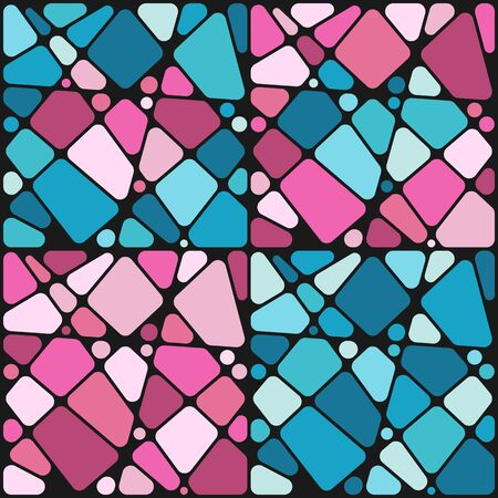 Set of backgrounds with mosaic hearts. Vector colored backgrounds in blue and pink.