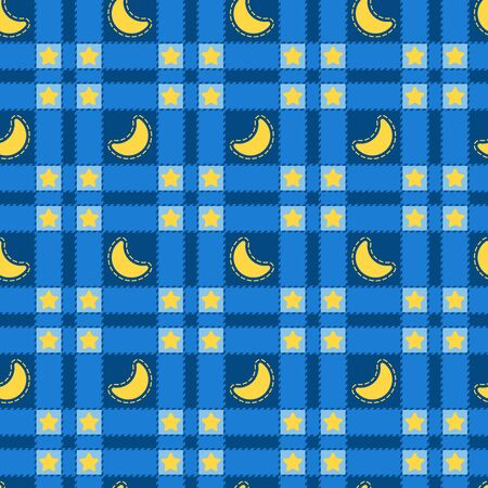 Seamless pattern of blue plaid with a yellow month and stars. Vector background.