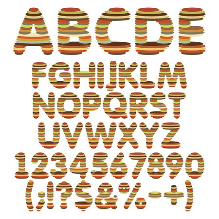Color alphabet, letters, numbers and signs from round layers. Set of vector isolated objects on a white background. Illustration
