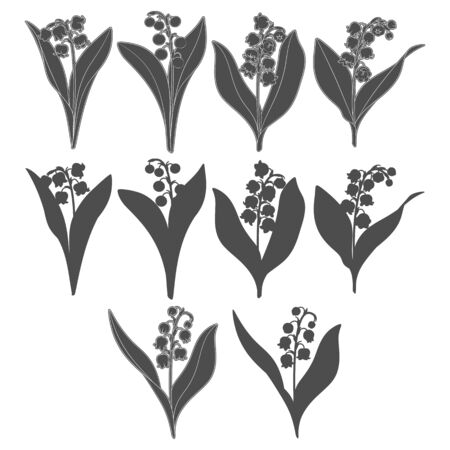 Set of black and white images with lilies of the valley. Isolated vector objects on a white background. Illustration