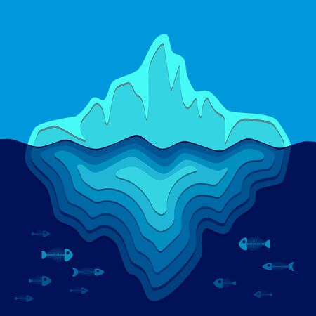 Vector background with iceberg and fish skeletons. Color illustration on the theme of ecology. Illustration