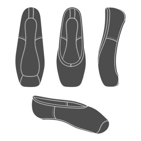 Set of black and white illustrations with pointe shoes, ballet shoes. Isolated vector objects on a white background.