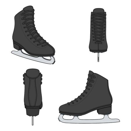 Set of color images with black skates for figure skating. Isolated vector objects on a white background. Illustration