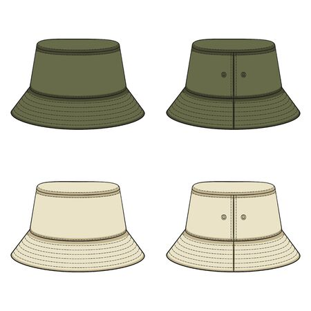 Set of color illustrations with khaki panama hat. Isolated vector objects on a white background. Illustration
