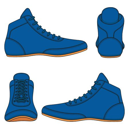 Set of color illustrations with blue wrestling shoes, sports shoes. Isolated vector objects on a white background. Illustration