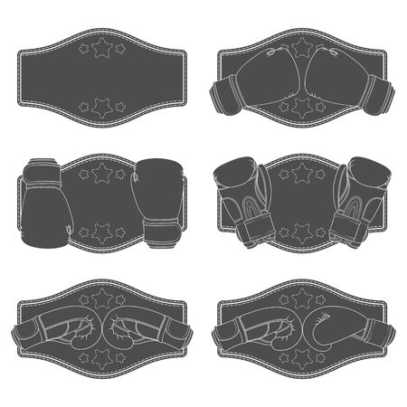 Set of black and white illustrations with boxing gloves and a winner belt. Isolated vector objects on a white background. Illustration