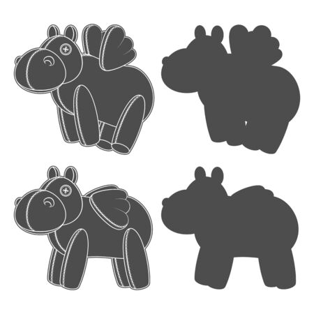 Set of black and white illustrations, silhouettes with a toy hippo with wings. Isolated vector objects on a white background.