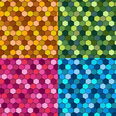 Set of seamless hexagon mosaic patterns. Vector colored backgrounds.