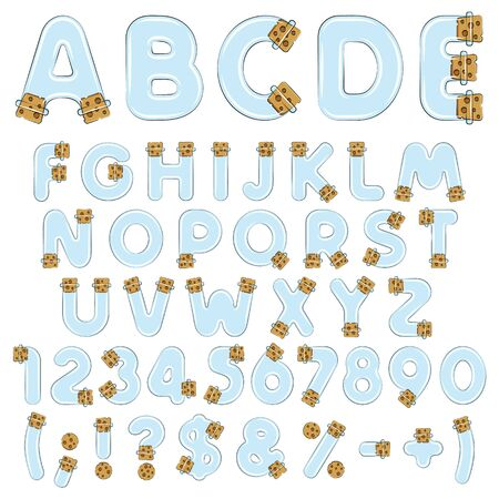Alphabet, letters, numbers and symbols from vials, tubes with corks. Set of vector colored isolated objects on a white background.