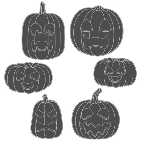 Set of black and white pumpkins with carved faces for Halloween. Isolated vector objects on a white background.