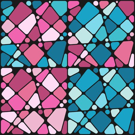 Set of backgrounds with mosaic hearts. Vector colored backgrounds in pink and blue. Illustration