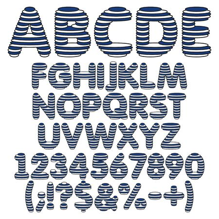 Marine blue white alphabet, letters, numbers and signs from round layers. Illustration