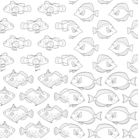 Set of seamless patterns with the image of tropical fish. Black and white vector background.