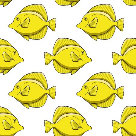 Seamless pattern with yellow zebrasoma fish. Vector background with tropical fish on a white background.