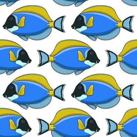 Seamless pattern with fish surgeon. Illustration