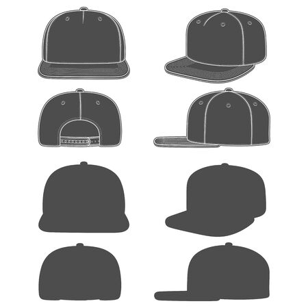 Set of black and white images of a snapback, rapper cap with a flat visor. Isolated objects on white background.