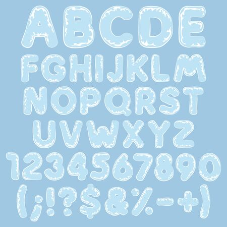 Alphabet, letters, numbers and signs made of plastic, polyethylene, cellophane. Set of isolated vector objects.