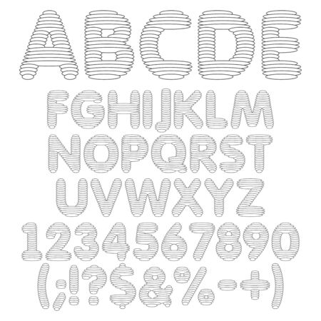 Black and white alphabet, letters, numbers and signs from round layers. Set of vector isolated objects on a white background.